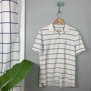 Nautica White Striped Polo